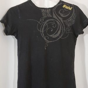 Sinful Affliction Women  Sparkly Wings Top